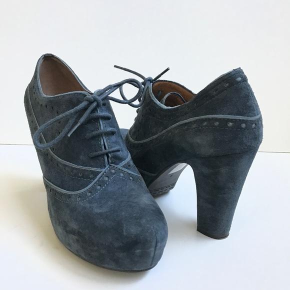 38558201c9003 Miz Mooz Lance 9 Blue Suede Leather Brogue Oxford